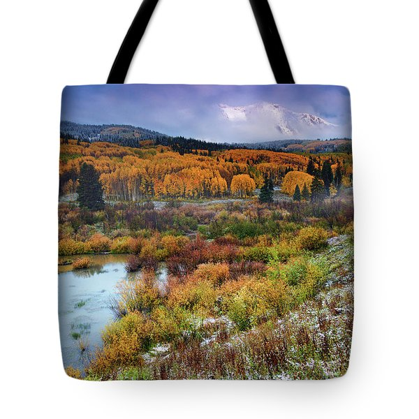 Tote Bag featuring the photograph Autumn Dusting by John De Bord