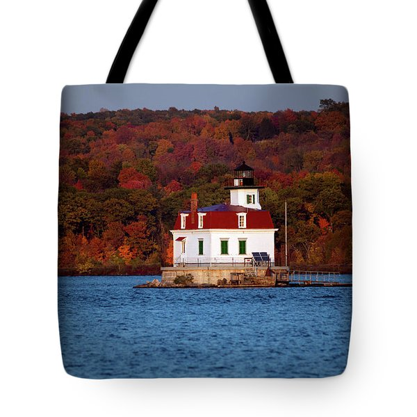 Autumn Evening At Esopus Lighthouse Tote Bag by Jeff Severson