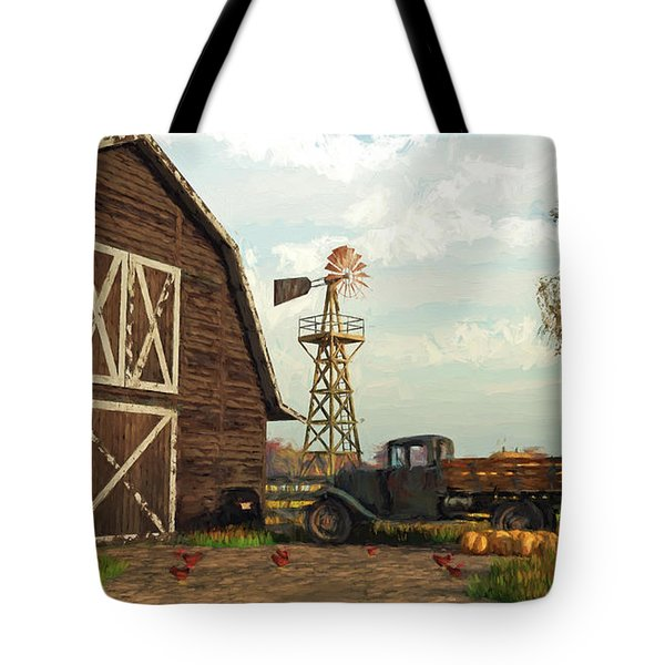 Autumn Farm Scene Tote Bag
