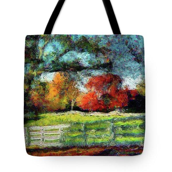 Autumn Field On The Farm Tote Bag