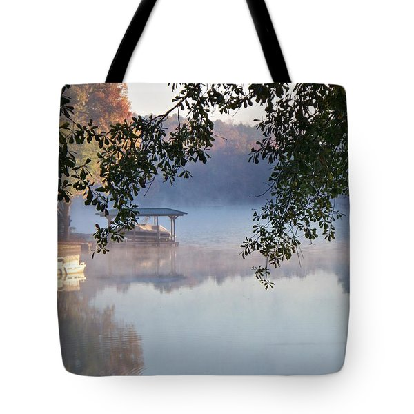 Tote Bag featuring the photograph Autumn Fog by Betty Northcutt