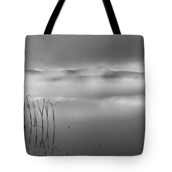 Tote Bag featuring the photograph Autumn Fog Black And White by Bill Wakeley