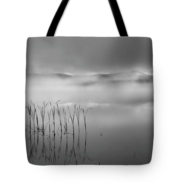 Tote Bag featuring the photograph Autumn Fog Black And White Square by Bill Wakeley