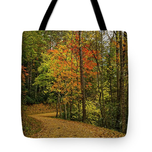 Autumn Forest Road. Tote Bag by Ulrich Burkhalter