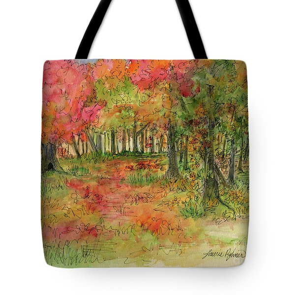 Autumn Forest Watercolor Illustration Tote Bag