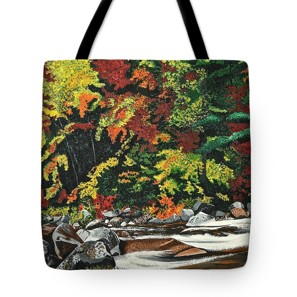 Tote Bag featuring the painting Autumn Frost by Donna Blossom