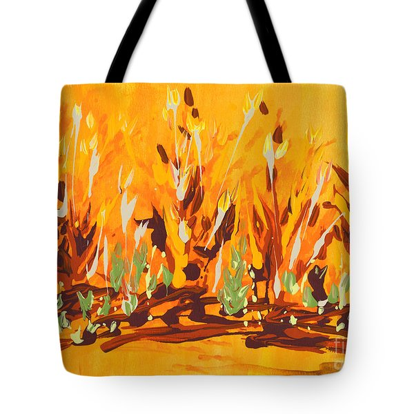 Tote Bag featuring the painting Autumn Garden by Holly Carmichael