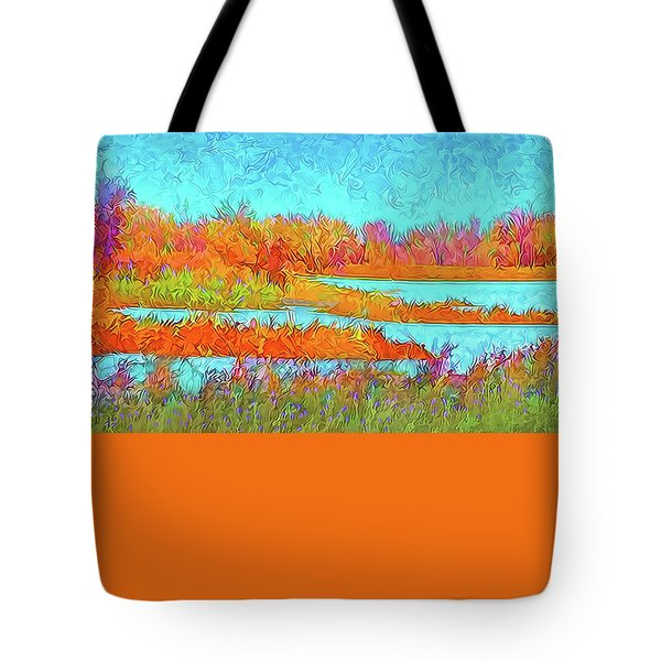 Tote Bag featuring the digital art Autumn Grassy Meadow With Floating Lakes by Joel Bruce Wallach
