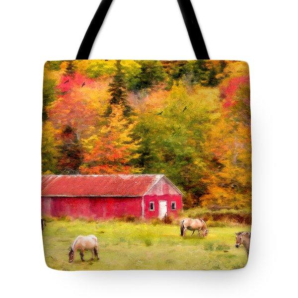 Autumn Horses Tote Bag