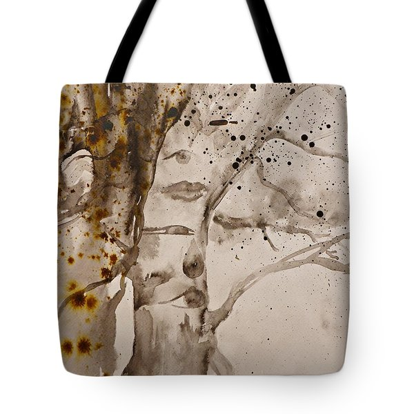 Tote Bag featuring the painting Autumn Human Face Tree by AmaS Art