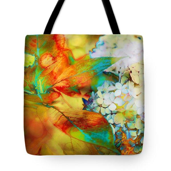 Autumn Hydrangea In Gold Tote Bag