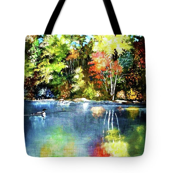 Autumn In Loon Country Tote Bag by Al Brown