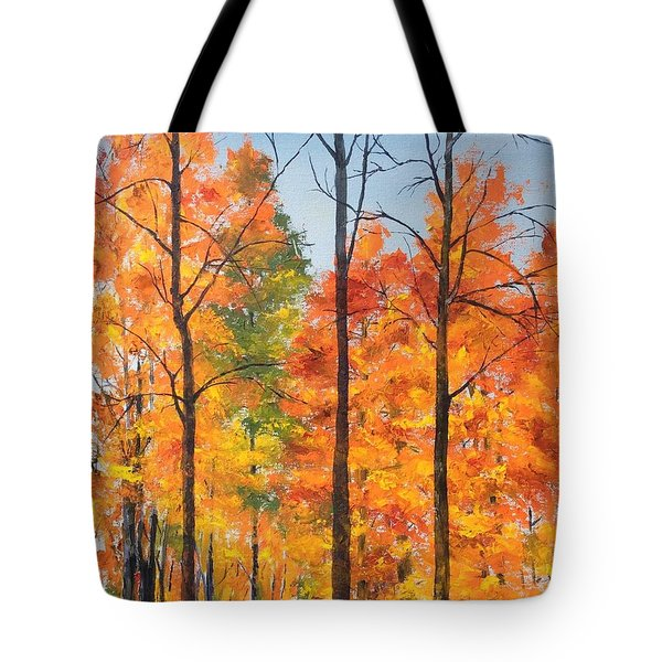 Tote Bag featuring the painting Autumn In South Wales Ny by Ellen Canfield