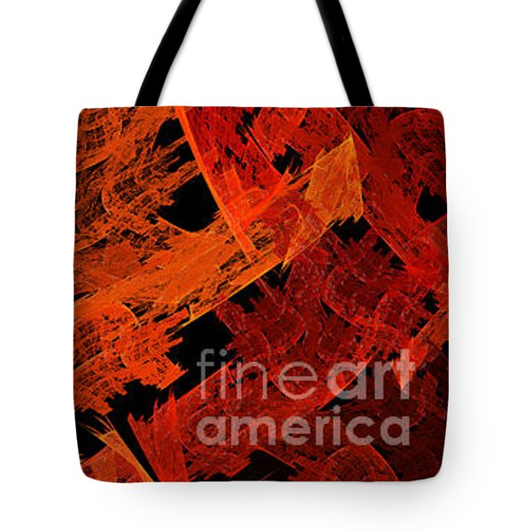 Tote Bag featuring the digital art Autumn In Space Abstract Pano 1 by Andee Design