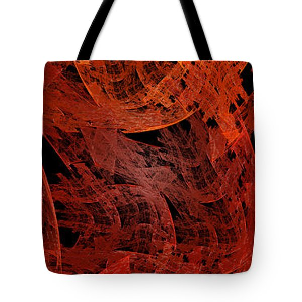 Tote Bag featuring the digital art Autumn In Space Abstract Pano 2 by Andee Design