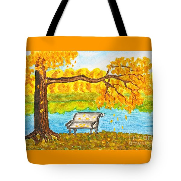 Autumn Landscape With Tree And Bench, Painting Tote Bag