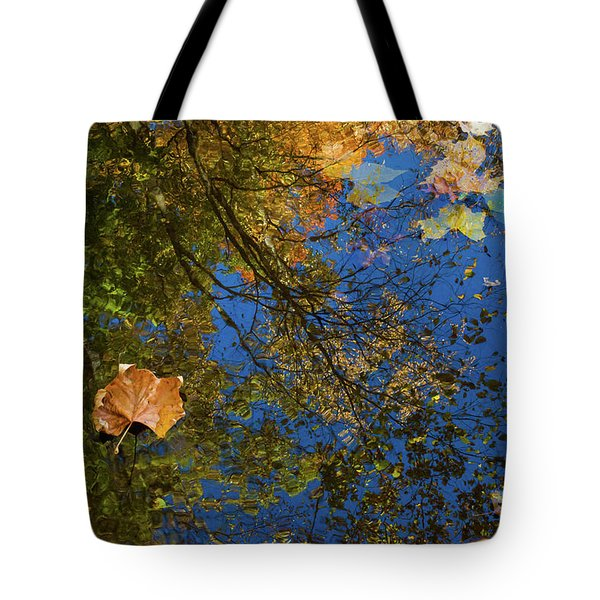 Tote Bag featuring the photograph Autumn Leaf Reflections by Lon Dittrick