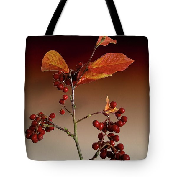 Tote Bag featuring the photograph Autumn Leafs And Red Berries by David French