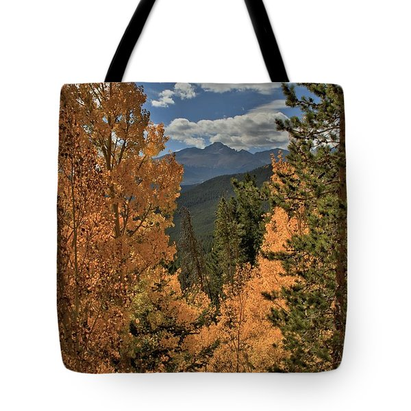 Autumn Leaves And Longs Peak Tote Bag