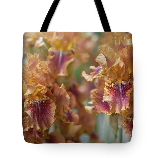 Autumn Leaves Irises In Garden Tote Bag