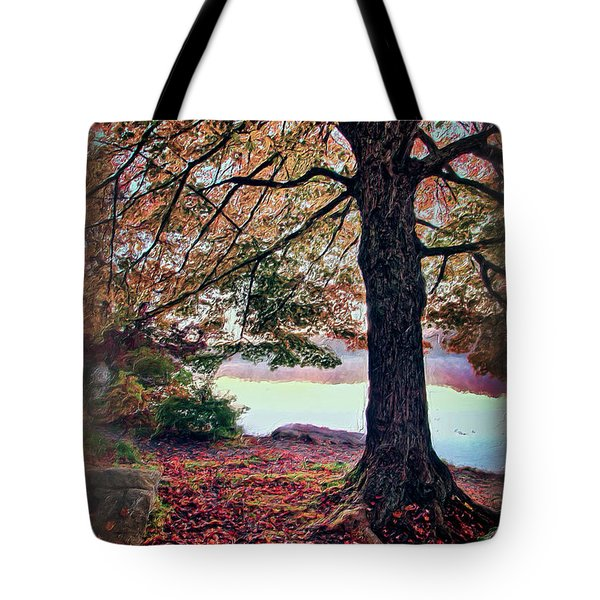 Tote Bag featuring the painting Autumn Leaves On The Blue Ridge Parkway Ap by Dan Carmichael