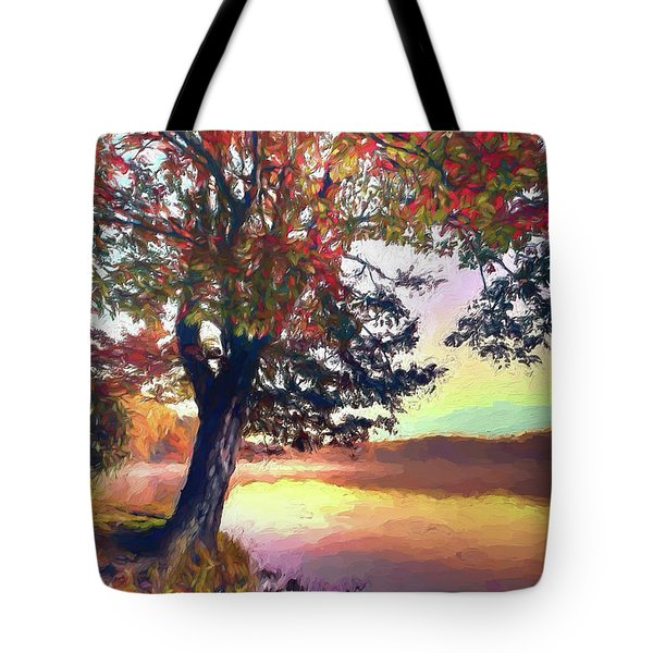 Autumn Leaves Tree At Blue Ridge Lake Ap Tote Bag