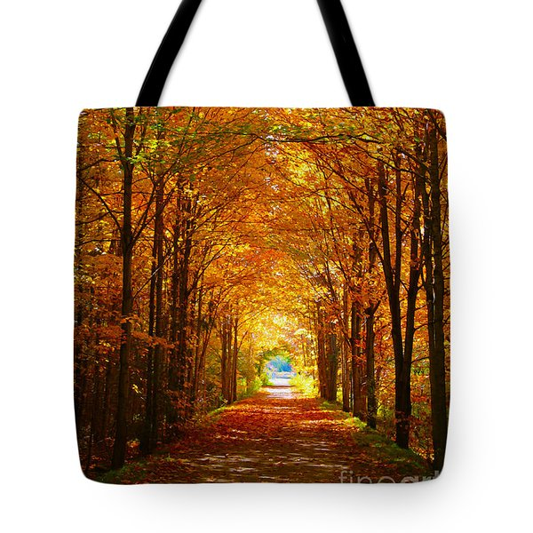 Autumn Light And Leaf Painting Tote Bag