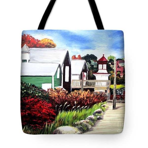 Tote Bag featuring the painting Autumn Lighthouse Miramichi New Brunswick Canada by Patricia L Davidson