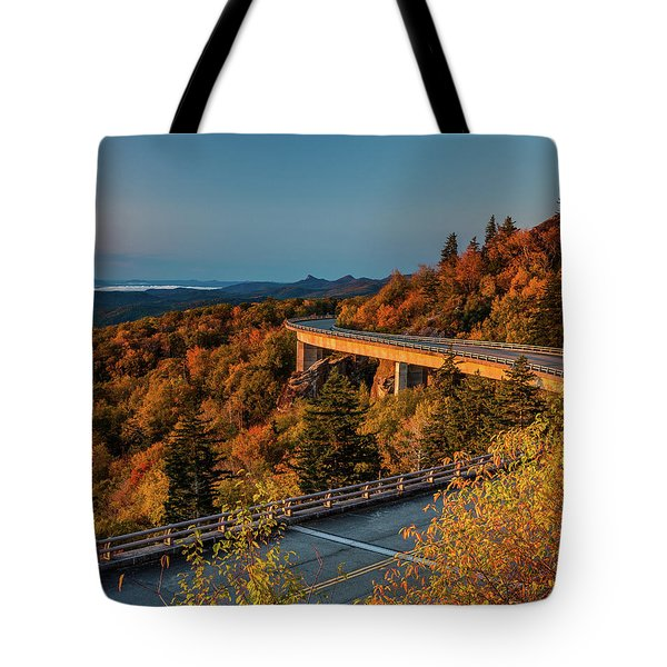 Morning Sun Light - Autumn Linn Cove Viaduct Fall Foliage Tote Bag