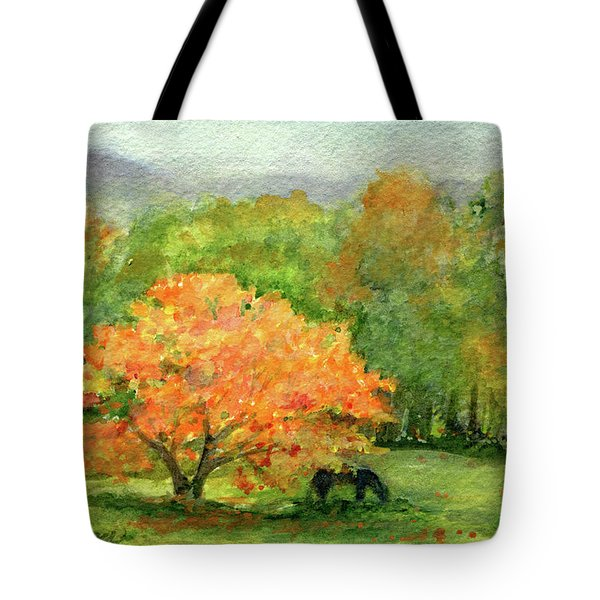 Autumn Maple With Horses Grazing Tote Bag