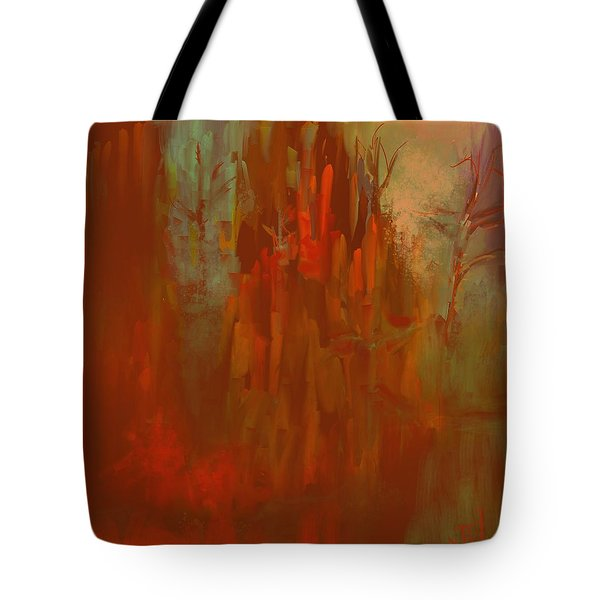 Tote Bag featuring the digital art Autumn Mist by Jim Vance