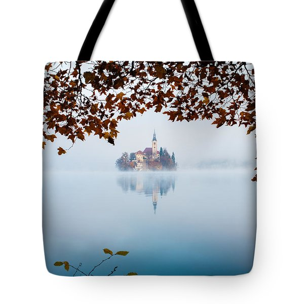 Tote Bag featuring the photograph Autumn Mist Over Lake Bled by Ian Middleton