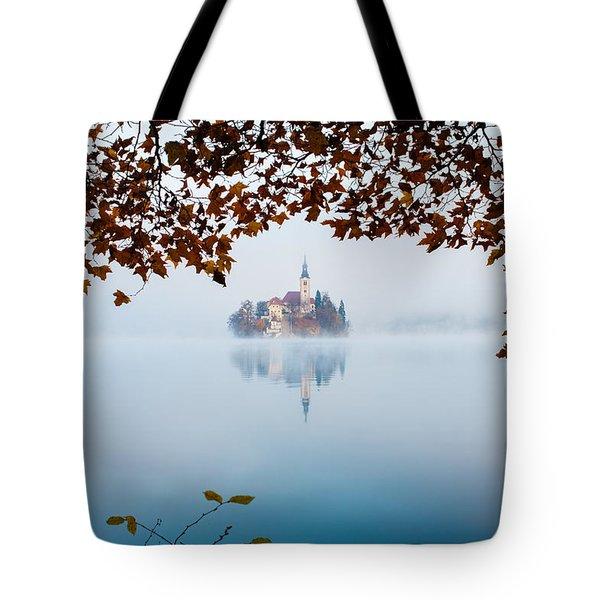 Autumn Mist Over Lake Bled Tote Bag