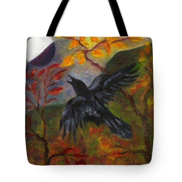 Autumn Moon Raven Tote Bag