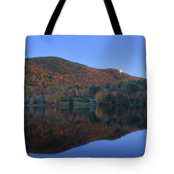 Autumn Moonrise In The Green Mountains Tote Bag by John Burk