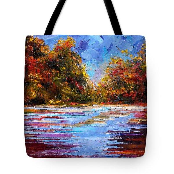 Autumn Morning Tote Bag by Debra Hurd