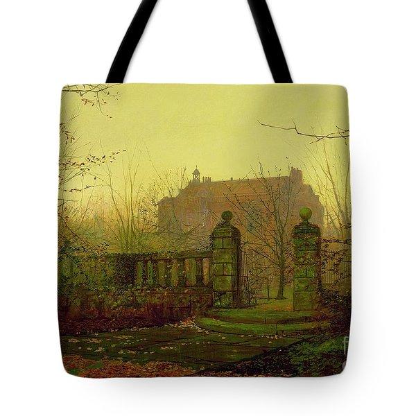 Autumn Morning Tote Bag by John Atkinson Grimshaw
