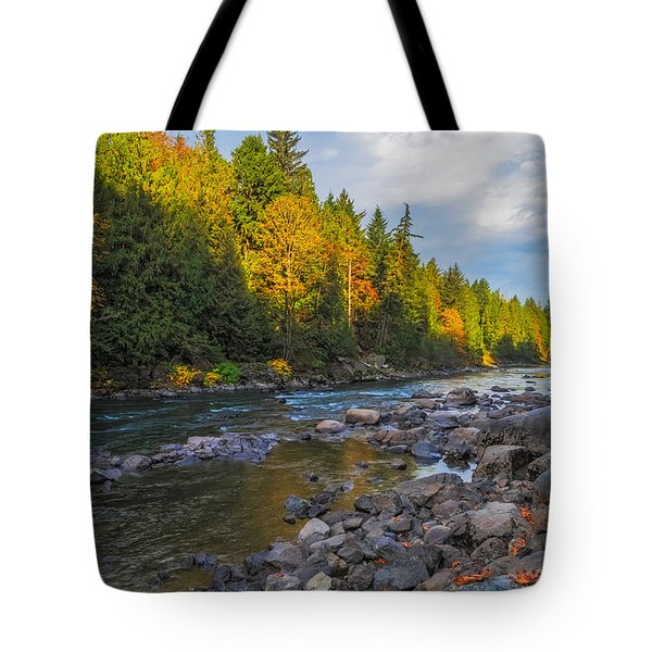 Autumn Morning Light On The Snoqualmie Tote Bag by Ken Stanback