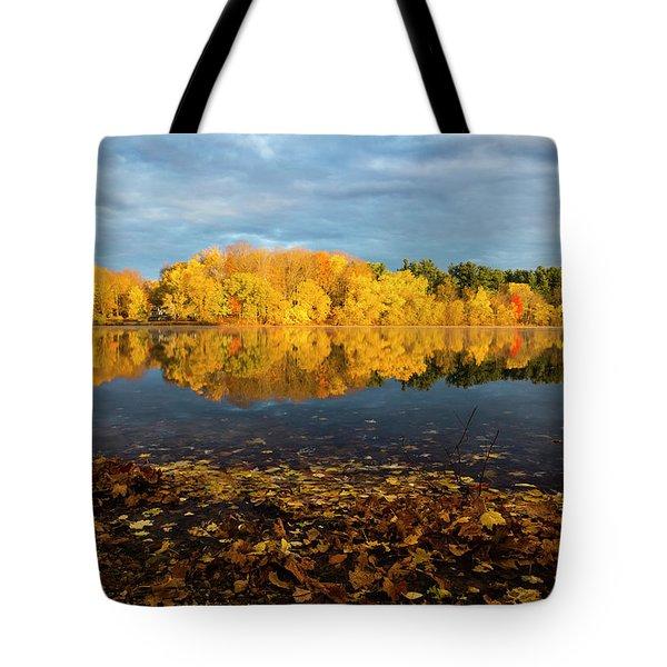 Autumn Morning Reflection On Lake Pentucket Tote Bag