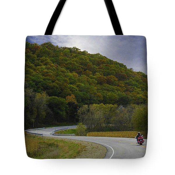 Tote Bag featuring the photograph Autumn Motorcycle Rider / Red by Patti Deters