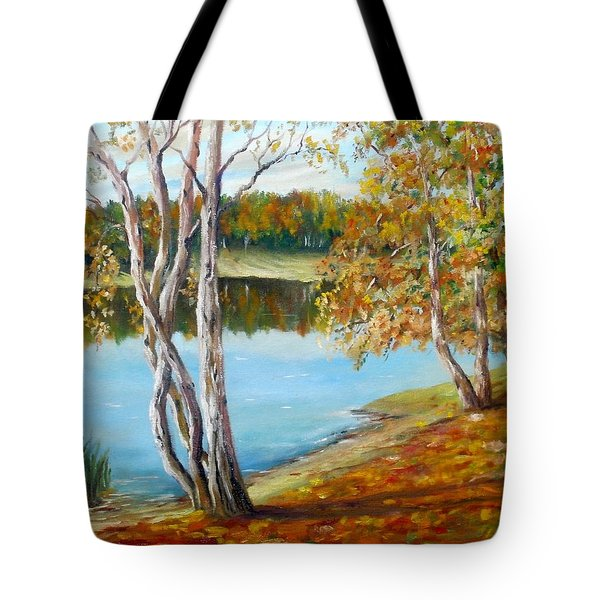 Tote Bag featuring the painting Autumn by Nina Mitkova
