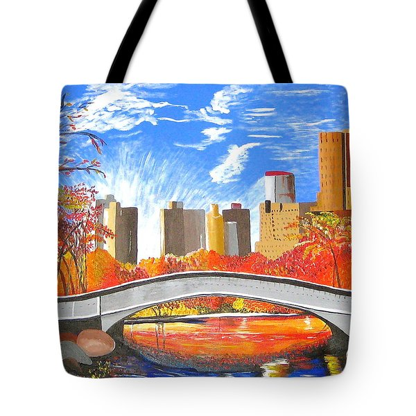 Tote Bag featuring the painting Autumn Oasis by Donna Blossom
