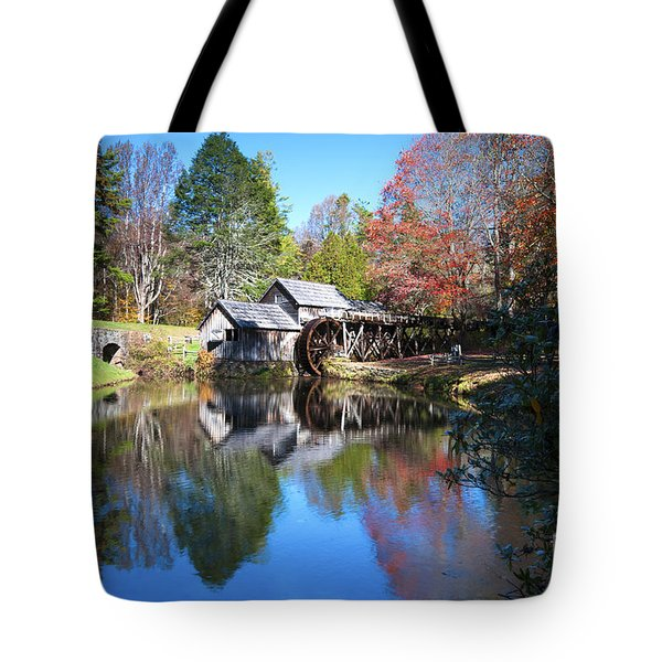 Autumn On The Blue Ridge Parkway At Mabry Mill Tote Bag by Nature Scapes Fine Art
