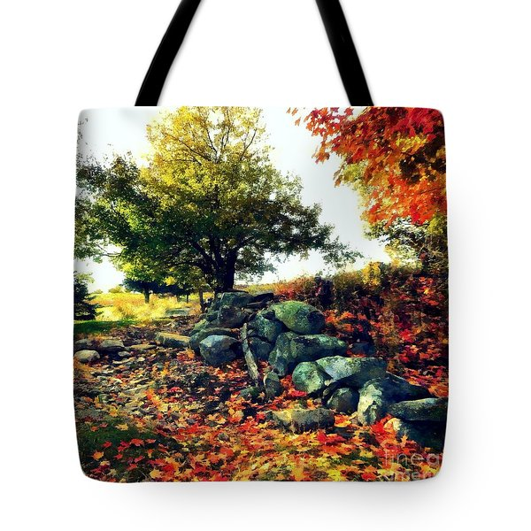 Tote Bag featuring the painting Autumn Orchard by Janine Riley