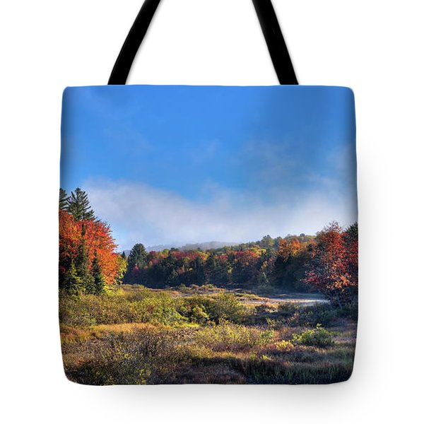 Tote Bag featuring the photograph Autumn Panorama At The Green Bridge by David Patterson