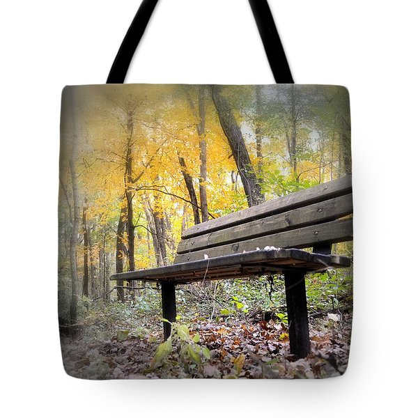 Autumn Park Bench Tote Bag by Bonfire Photography