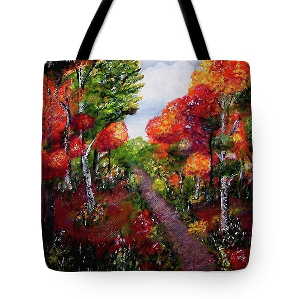Tote Bag featuring the painting Autumn Path by Sonya Nancy Capling-Bacle