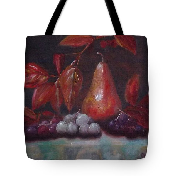 Autumn Pear With Grapes Tote Bag