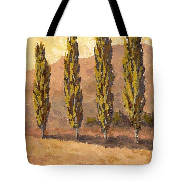 Autumn Poplars Tote Bag
