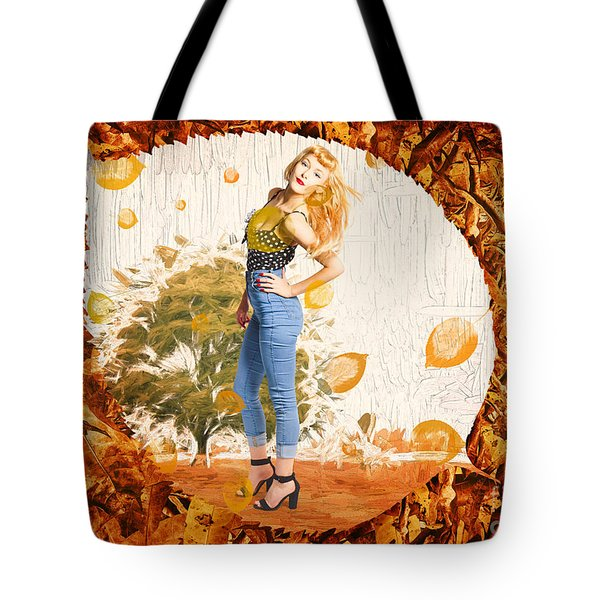 Autumn Postcard Pinup Tote Bag